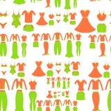Modelo inconsútil con una hembra anaranjada y verde de la ropa Vector Imágenes de archivo libres de regalías