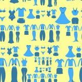 Modelo inconsútil con una hembra azul de la ropa en un backgro amarillo Fotos de archivo
