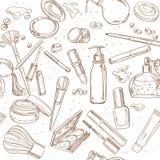 Modelo inconsútil de garabatos de la crema cosmética, lápiz labial, powde Imágenes de archivo libres de regalías