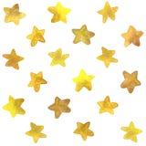Modelo inconsútil de la acuarela de oro de las estrellas Imagen de archivo libre de regalías