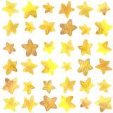 Modelo inconsútil de la acuarela de oro de las estrellas Imágenes de archivo libres de regalías