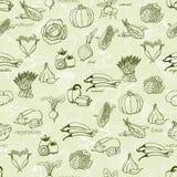 Modelo inconsútil de la cocina con una variedad de verduras Ilustración del vector Imagen de archivo