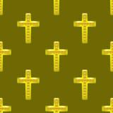 Modelo inconsútil de la cruz de oro del metal Imágenes de archivo libres de regalías