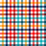 Modelo inconsútil de la guinga de la tela a cuadros colorida de la tela escocesa en rojo blanco y amarillo azules, impresión Imagenes de archivo