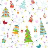 Modelo inconsútil de la Navidad Foto de archivo libre de regalías