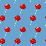 Modelo inconsútil de la piruleta Textura dulce roja del caramelo Fresa s Fotografía de archivo