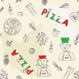Modelo inconsútil de la pizza - retro dibujada mano Imagenes de archivo