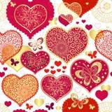 Modelo inconsútil de la tarjeta del día de San Valentín Imágenes de archivo libres de regalías