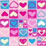 Modelo inconsútil de la tarjeta del día de San Valentín con los corazones Imagen de archivo libre de regalías
