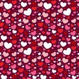 Modelo inconsútil de la tarjeta del día de San Valentín con los corazones Fotografía de archivo libre de regalías