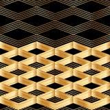 Modelo inconsútil de la tarjeta del negro de la decoración del oro de Chevron Imagenes de archivo