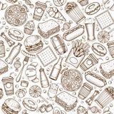 Modelo inconsútil de los alimentos de preparación rápida Imágenes de archivo libres de regalías
