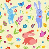 Modelo inconsútil de los conejos lindos de Pascua Fotografía de archivo libre de regalías