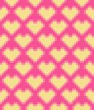 Modelo inconsútil de los corazones del pixel del vector Fotografía de archivo libre de regalías