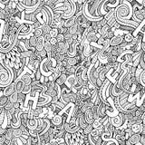 Modelo inconsútil de los garabatos decorativos abstractos de las letras. Imagen de archivo libre de regalías