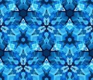 Modelo inconsútil del caleidoscopio azul Modelo inconsútil integrado por los elementos del extracto del color establecidos en el  Foto de archivo
