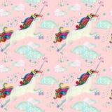 Modelo inconsútil del cuento de hadas de la acuarela con unicornio del vuelo, las nubes mágicas y la lluvia Foto de archivo libre de regalías