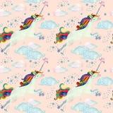 Modelo inconsútil del cuento de hadas de la acuarela con unicornio del vuelo, las nubes mágicas y la lluvia Imagen de archivo