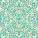 Modelo inconsútil del damasco floral poner crema azul Fotografía de archivo libre de regalías