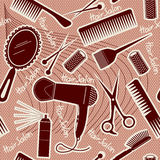 Modelo inconsútil del equipo de la peluquería. CCB del vector Foto de archivo
