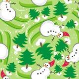 Modelo inconsútil del esquí verde del muñeco de nieve Fotografía de archivo libre de regalías