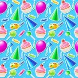 Modelo inconsútil del feliz cumpleaños Vector Foto de archivo libre de regalías