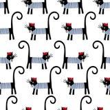Modelo inconsútil del gato francés Ejemplo parisiense del vector del gato de la historieta linda Fotografía de archivo libre de regalías