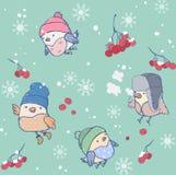 Modelo inconsútil del invierno de los pájaros divertidos que llevan los sombreros Fotos de archivo libres de regalías