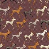 Modelo inconsútil del marrón oscuro del vintage con los ciervos galopantes Imagenes de archivo
