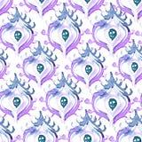 Modelo inconsútil del pavo real abstracto de la acuarela del vector Foto de archivo libre de regalías