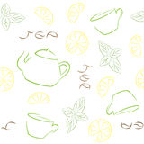 Modelo inconsútil del té con la caldera, las tazas, el limón y la menta Imagenes de archivo