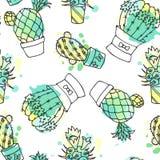 Modelo inconsútil del vector con el cactus El fondo colorido con la acuarela salpica y los cactus Colección suculenta Fotografía de archivo