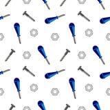 Modelo inconsútil del vector con las herramientas Baackground caótico con los tornillos, las nueces y los destornilladores en el  Imagen de archivo