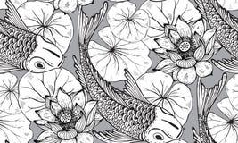 Modelo inconsútil del vector con los pescados dibujados mano de Koi con loto Imagen de archivo