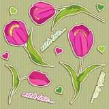 Modelo inconsútil del vector de la tarjeta del día de San Valentín con los tulipanes rosados Fotos de archivo