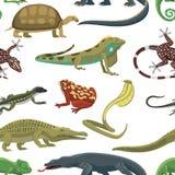 Modelo inconsútil del vector de los animales de los reptiles Fotografía de archivo libre de regalías