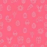 Modelo inconsútil del vector de los iconos de Pascua Fotografía de archivo libre de regalías