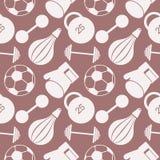 Modelo inconsútil del vector Fondo con el equipo de deportes del primer Balón de fútbol, saco de arena, guantes, barbells, pesas  Foto de archivo