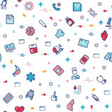 Modelo inconsútil del vector médico de la atención sanitaria con la línea iconos de la medicina Imagen de archivo libre de regalías