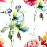 Modelo inconsútil del verano con las flores Imagen de archivo libre de regalías