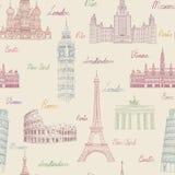 Modelo inconsútil del viaje Vacaciones en el papel pintado de Europa Viaje a Imágenes de archivo libres de regalías
