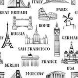 Modelo inconsútil del viaje Vacaciones en el papel pintado de Europa Viaje a Fotografía de archivo