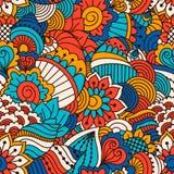Modelo inconsútil dibujado mano con los elementos florales Origen étnico colorido Foto de archivo