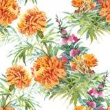 Modelo inconsútil floreciente de las flores de la acuarela del jardín hermoso del verano Fotografía de archivo libre de regalías