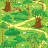 Modelo inconsútil - Forest Landscape verde Fotografía de archivo libre de regalías