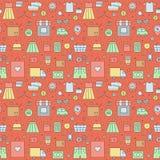 Modelo inconsútil grande que hace compras (rojo) Diseño simple del esquema Imagen de archivo