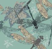 Modelo inconsútil hermoso con la hoja de arce y las libélulas Imágenes de archivo libres de regalías