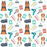 Modelo inconsútil Preparación para los animales Animal doméstico care Diseño plano Vector Imagen de archivo libre de regalías
