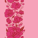 Modelo inconsútil vertical rosado de las flores y de las hojas Foto de archivo libre de regalías