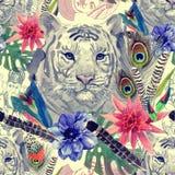 Modelo indio de la cabeza del tigre del estilo del vintage con las plumas, las flores y las hojas Ejemplo dibujado mano de la acu Imagen de archivo